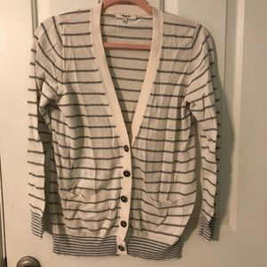 Madewell Cream Striped Boyfriend Cardigan Large